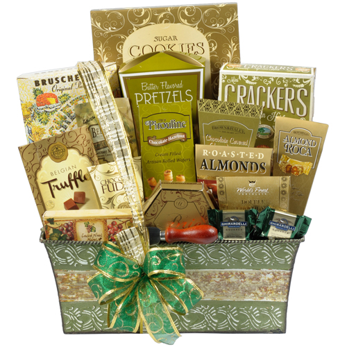 Gold and Green Gift Basket