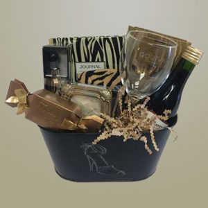 Journaling Gift Basket with Wine